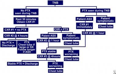 Full flowchart for patient care after transthoraci