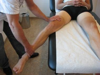 Valgus stress test for medial instability.