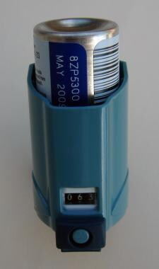 Metered dose inhaler (MDI) with dose counter.
