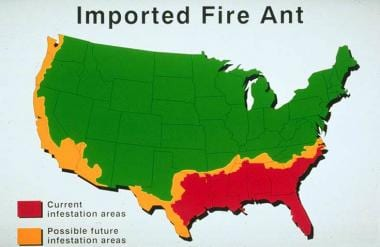 Imported fire ant national distribution map. From