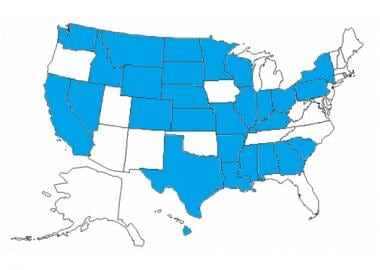 The shaded states have coroners in some or all cou