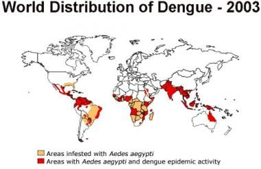 Worldwide distribution of dengue in 2003. Courtesy