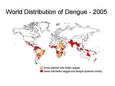 Worldwide distribution of dengue in 2005. Courtesy